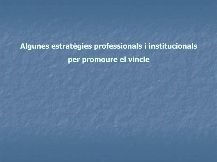 Algunes estratègies professionals i institucionals