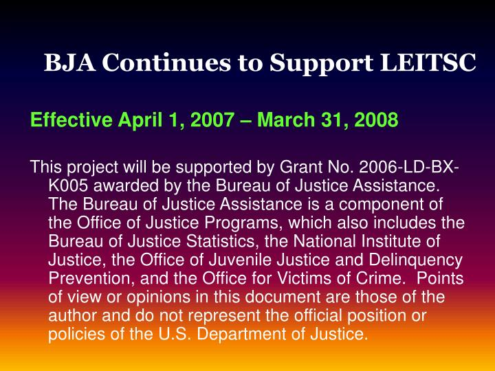BJA Continues to Support LEITSC