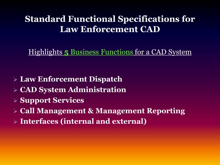 Standard Functional Specifications for