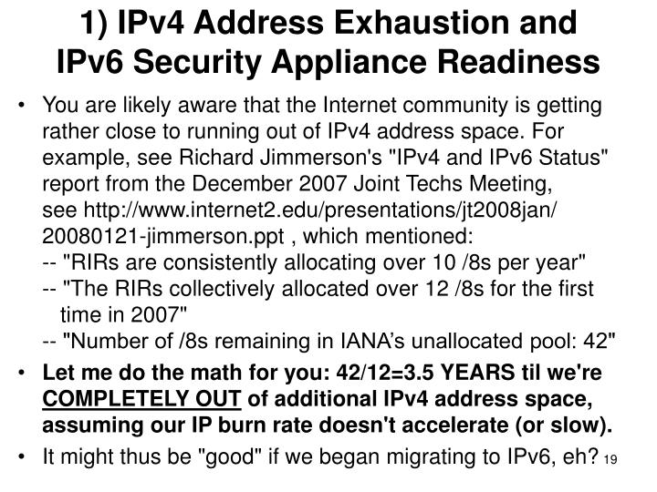 1) IPv4 Address Exhaustion and
