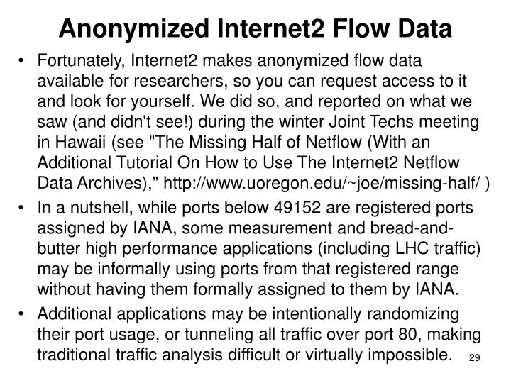Anonymized Internet2 Flow Data