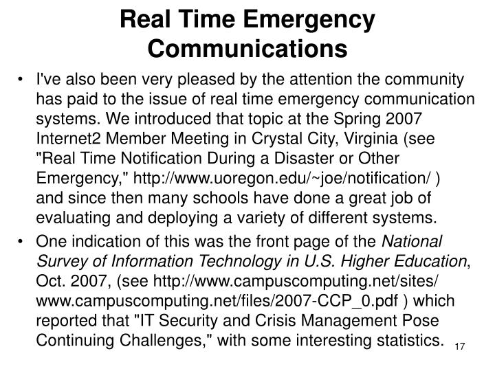 Real Time Emergency Communications