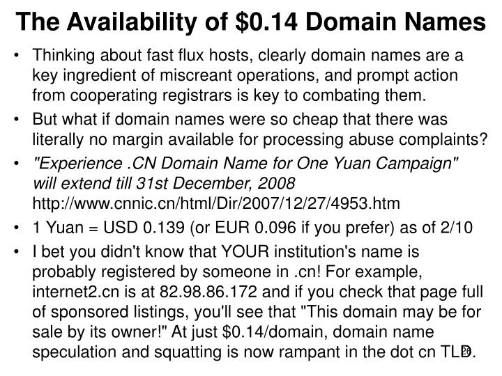 The Availability of $0.14 Domain Names
