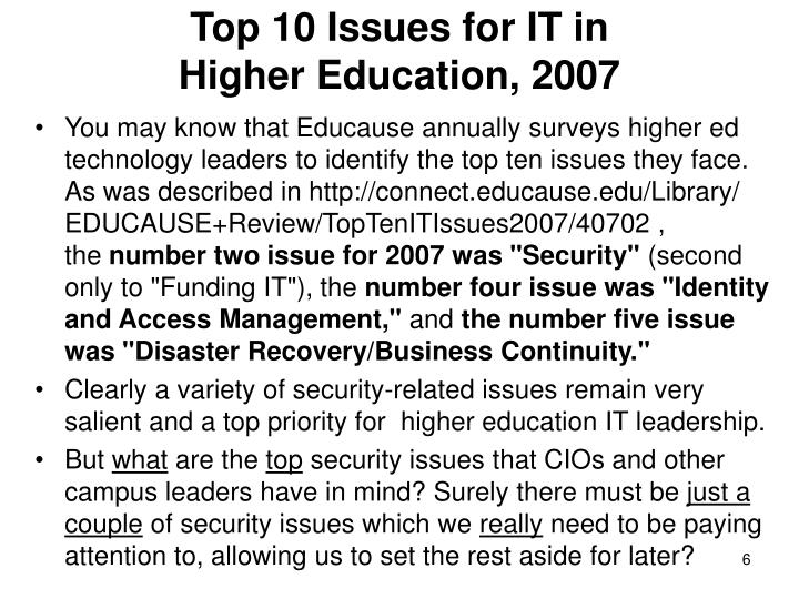 Top 10 Issues for IT in