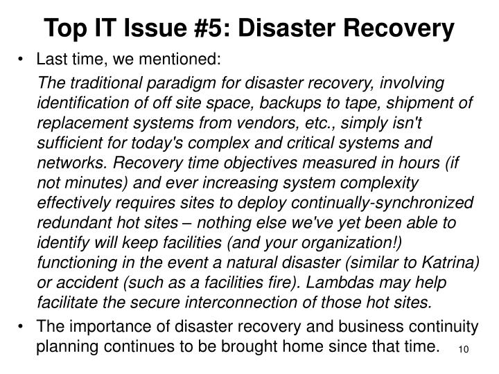 Top IT Issue #5: Disaster Recovery