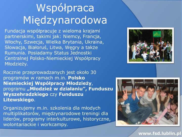 Fundacja współpracuje z wieloma krajami partnerskimi, takimi jak: Niemcy, Francja, Włochy, Szwecja, Wielka Brytania, Ukraina, Słowacja, Białoruś, Litwa, Węgry a także  Rumunia. Posiadamy Status Jednostki Centralnej Polsko-Niemieckiej Współpracy Młodzieży.