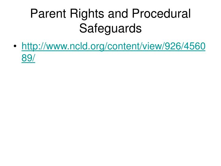 Parent Rights and Procedural Safeguards
