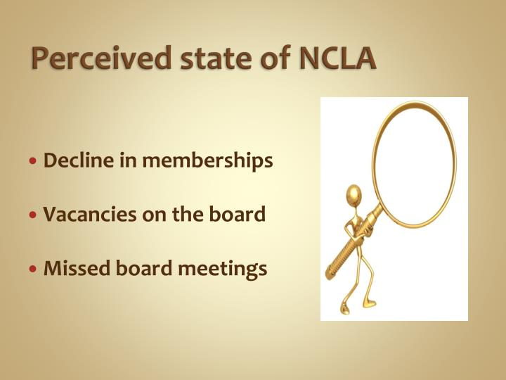 Perceived state of NCLA