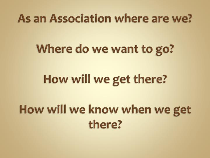 As an Association where are we?