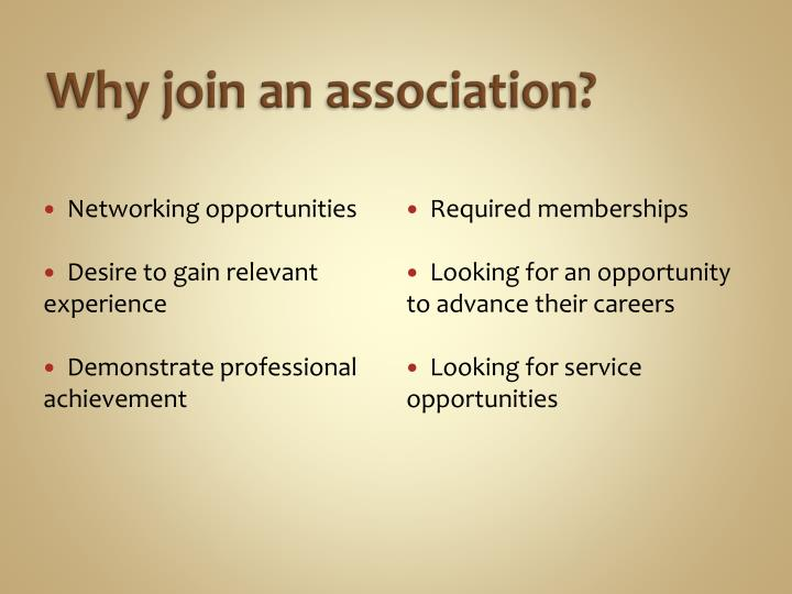 Why join an association?