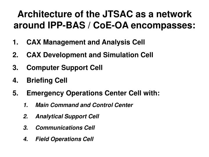 Architecture of the JTSAC as a network around IPP-BAS / CoE-OA encompasses:
