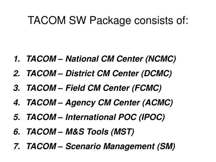 TACOM SW Package consists of:
