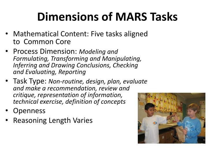 Dimensions of MARS Tasks
