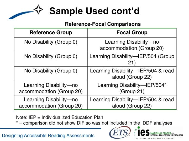 Reference-Focal Comparisons