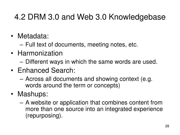 4.2 DRM 3.0 and Web 3.0 Knowledgebase
