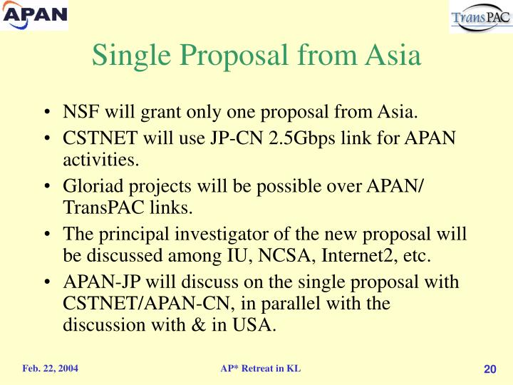 Single Proposal from Asia
