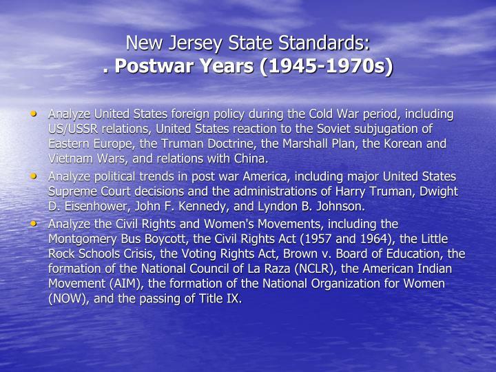 New jersey state standards postwar years 1945 1970s