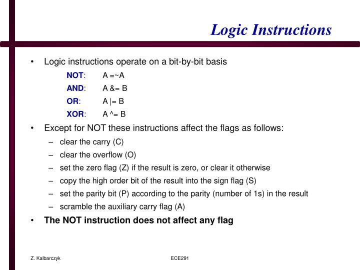 Logic Instructions