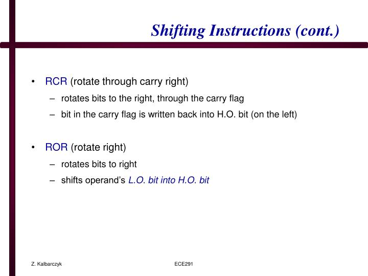 Shifting Instructions (cont.)
