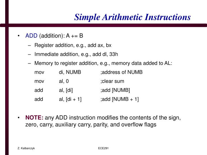 Simple Arithmetic Instructions