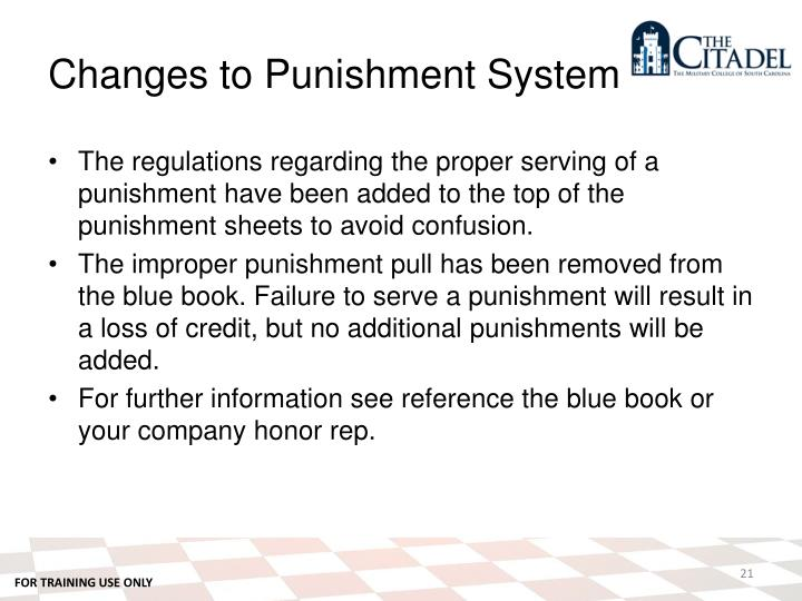 Changes to Punishment System