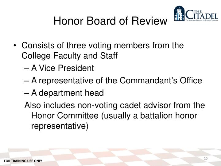 Honor Board of Review