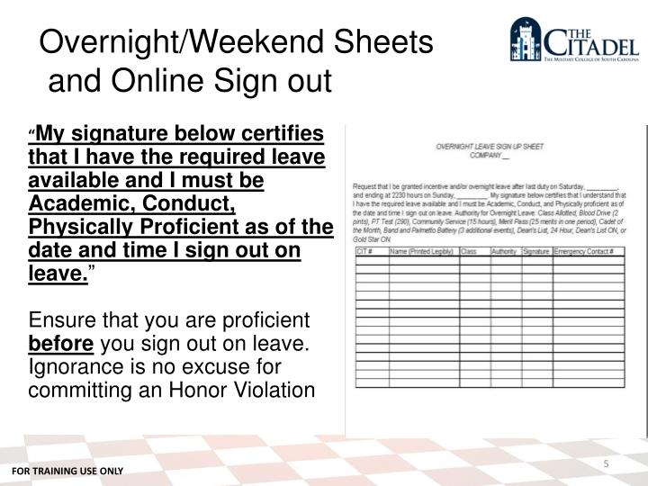 Overnight/Weekend Sheets