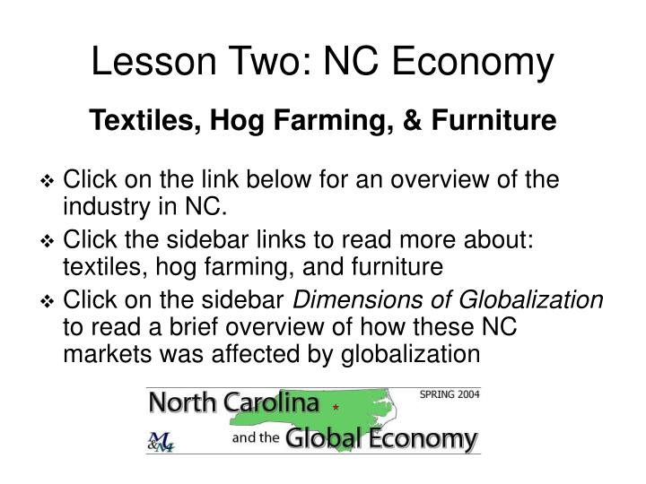 Lesson Two: NC Economy