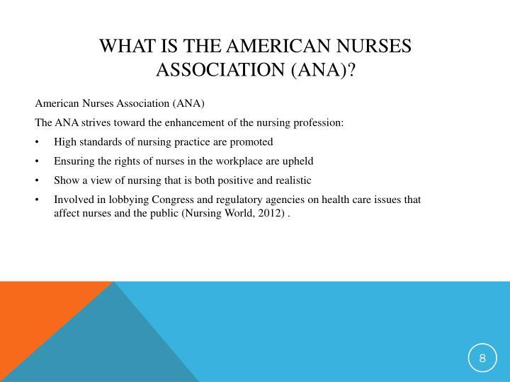 the american nurses association ana Ana contributions to standardized nursing terminologies in the united states the american nurses association (ana) has spearheaded efforts to coordinate the various minimum data sets and standardized nursing terminologies.