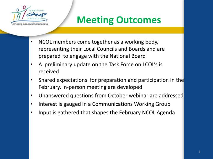 Meeting Outcomes