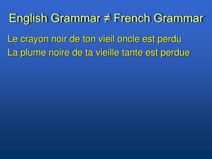 English grammar french grammar