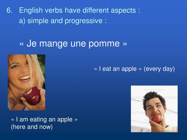 «I eat an apple» (every day)