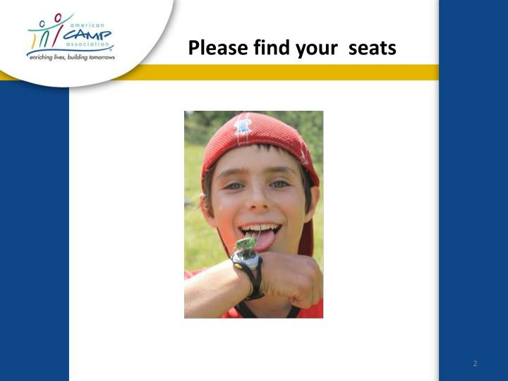 Please find your seats