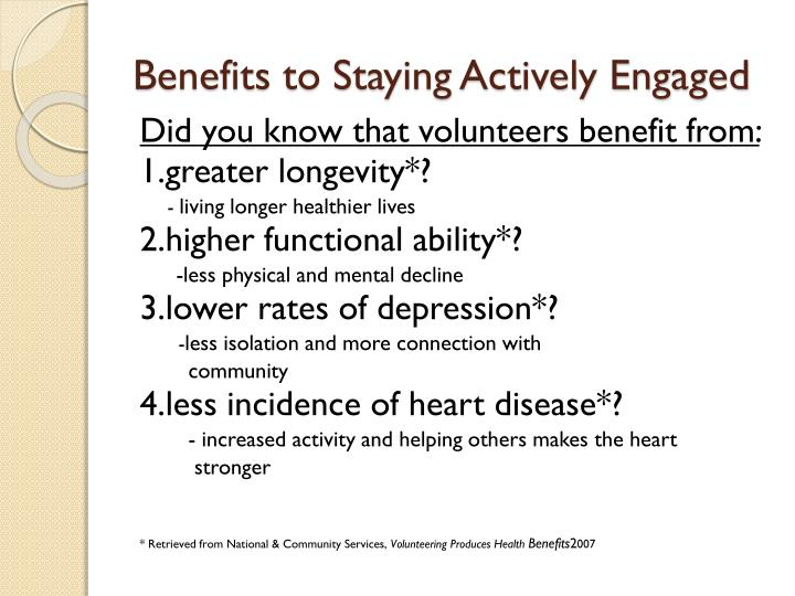Benefits to Staying Actively Engaged