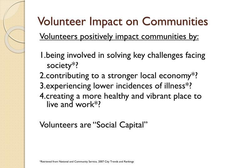 Volunteer impact on communities