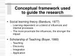 conceptual framework used to guide the research