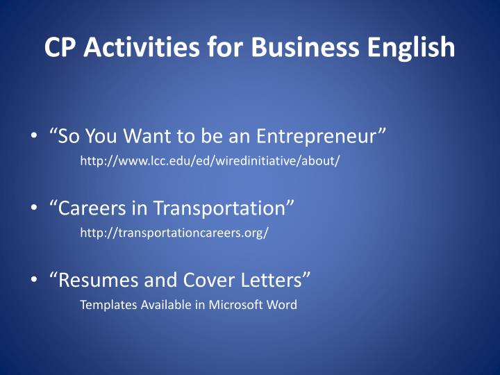 CP Activities for Business English