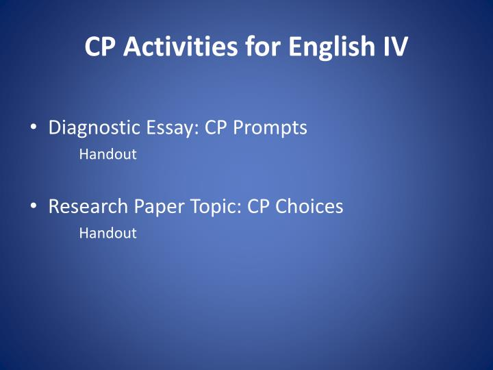 CP Activities for English IV