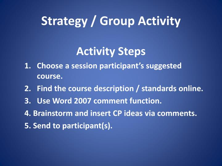 Strategy / Group Activity