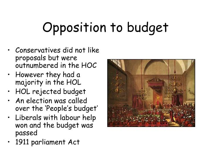 Opposition to budget