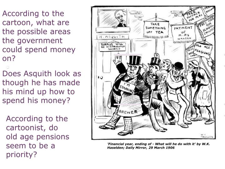 According to the cartoon, what are the possible areas the government could spend money on?