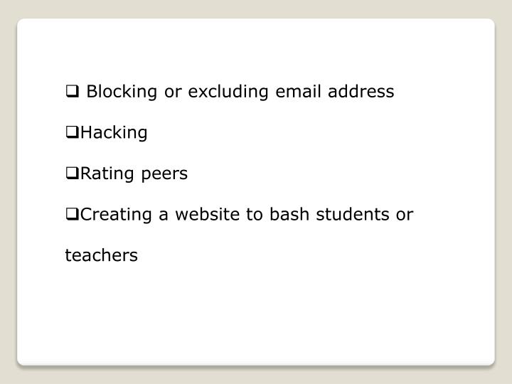 Blocking or excluding email address