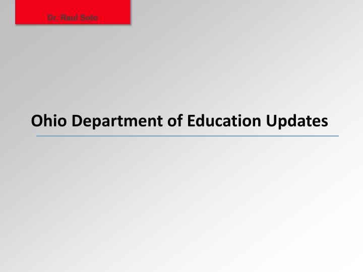 Ohio department of education updates