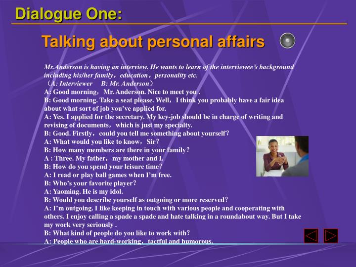 Dialogue One: