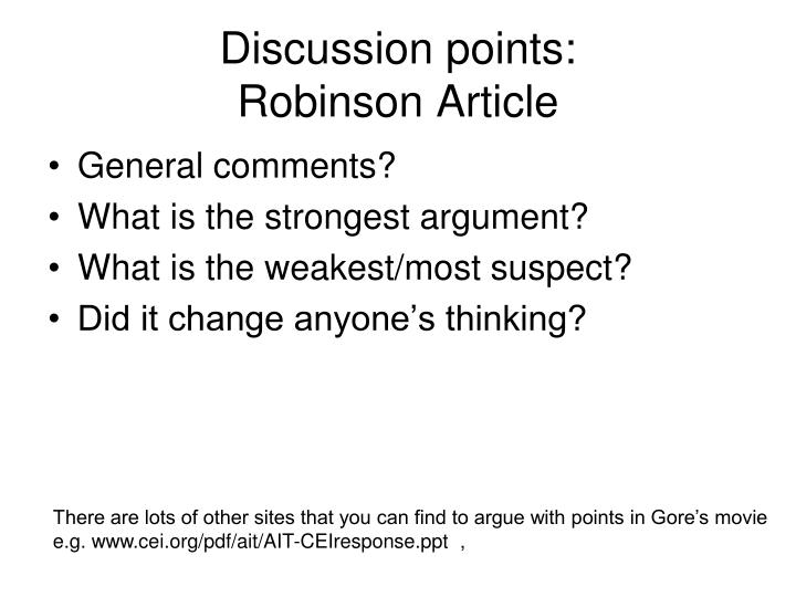 Discussion points robinson article