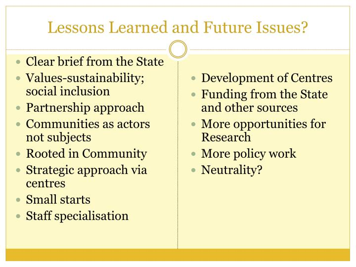 Lessons Learned and Future Issues?