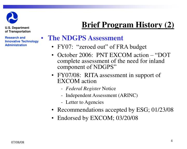 Brief Program History (2)