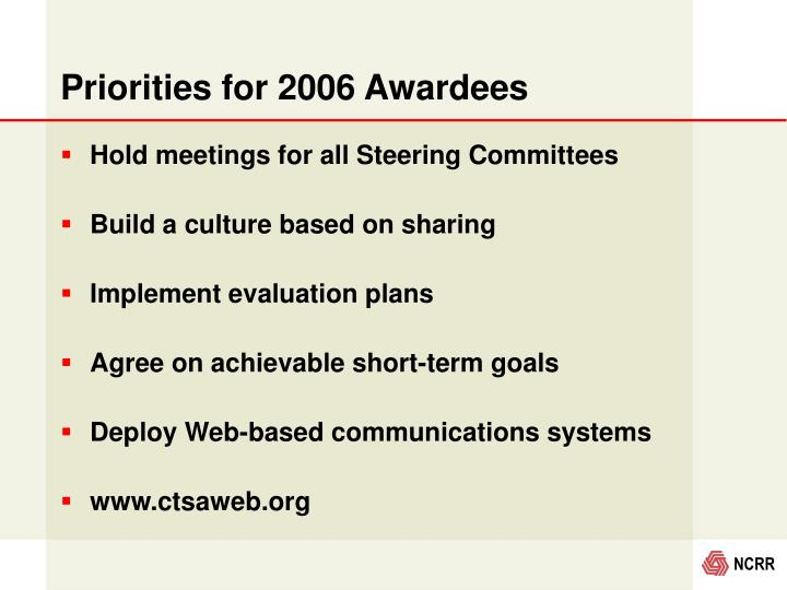 Priorities for 2006 Awardees