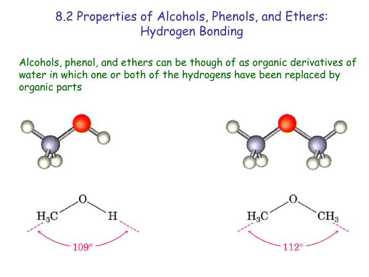 alcohols and phenols Although similar to alcohols, phenols have unique properties and are not classified as alcohols (since the hydroxyl group is not bonded to a saturated carbon atom.