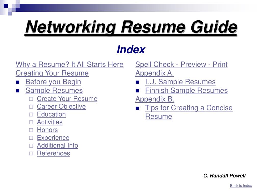 Ppt Networking Resume Guide Index Powerpoint Presentation Free